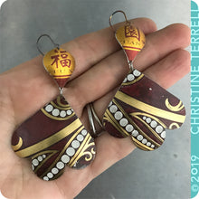 Load image into Gallery viewer, Maroon & Gold Trefoil Upcyled Tin Earrings