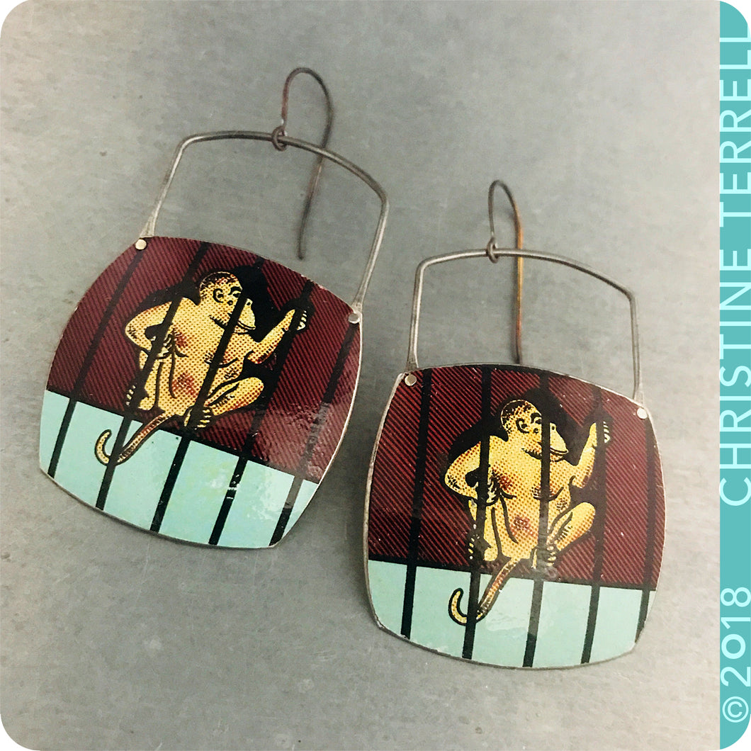 Monkey Animal Cracker Upcycled Tin Earrings