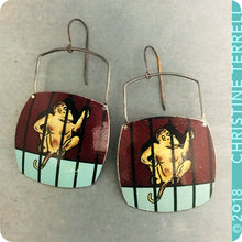 Load image into Gallery viewer, Monkey Animal Cracker Upcycled Tin Earrings