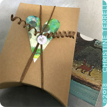 Load image into Gallery viewer, Bright Striped Horseshoe & Etched Celery Green Zero Waste Tin Earrings