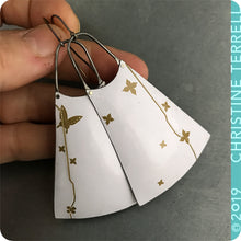 Load image into Gallery viewer, Golden Butterfly and Flowers on Snowy White Upcycled Tin Earrings