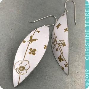 Golden Flowers on Snow White Upcycled Tin Leaf Earrings