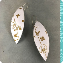 Load image into Gallery viewer, Golden Flowers on Snow White Upcycled Tin Leaf Earrings