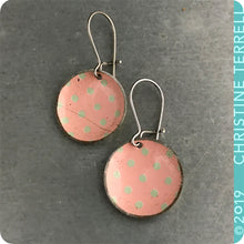 Load image into Gallery viewer, Pink with Gray Polka Dots Tiny Dot Upcycled Tin Earrings