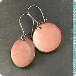 Pink with Gray Polka Dots Tiny Dot Upcycled Tin Earrings
