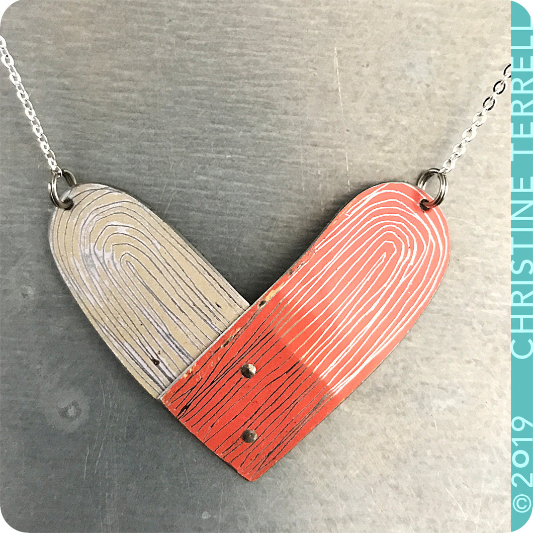 Pink and White Upcycled Tin Heart Necklace by Christine Terrell for adaptive reuse jewelry