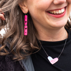 Hot Pink Hearts Narrow Rectangle Tin Earrings