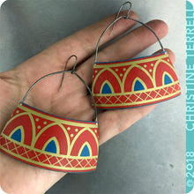 Load image into Gallery viewer, Scarlet Architectural Arch Upcycled Tin Earrings by Christine Terrell for adaptive reuse jewelry