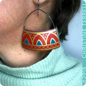 Scarlet Architectural Arch Upcycled Tin Earrings by Christine Terrell for adaptive reuse jewelry
