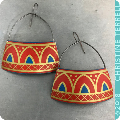 Scarlet Pointed Arches Zero-Waste Tin Earrings