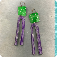 Load image into Gallery viewer, Bright Green & Purple Upcycled Tin Earrings by Christine Terrell for adaptive reuse jewelry