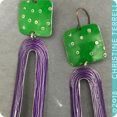 Bright Green & Purple Upcycled Tin Earrings by Christine Terrell for adaptive reuse jewelry