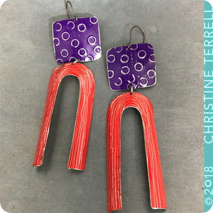 Royal Purple and Scarlet Arch Upcycled Tin Earrings by Christine Terrell for adaptive reuse jewelry