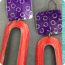 Load image into Gallery viewer, Royal Purple and Scarlet Arch Upcycled Tin Earrings by Christine Terrell for adaptive reuse jewelry