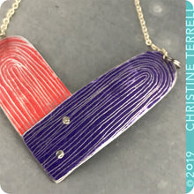 Load image into Gallery viewer, Scarlet and Royal Purple Etched Tin Heart Recycled Necklace