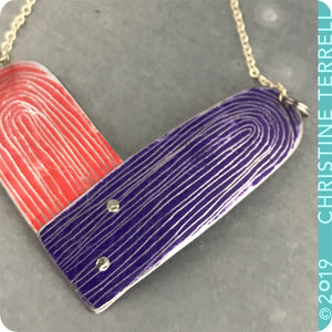 Scarlet and Royal Purple Etched Tin Heart Recycled Necklace