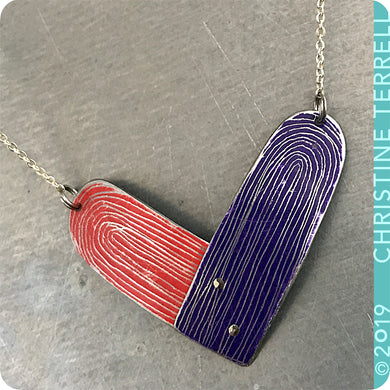 Scarlet & Purple Heart Upcycled Tin Earrings by Christine Terrell for adaptive reuse jewelry