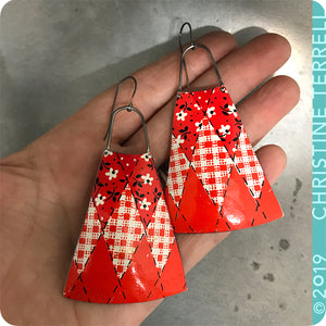 Red Bandana Long Fans Zero Waste Tin Earrings by Christine Terrell for adaptive reuse jewelry