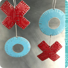 Load image into Gallery viewer, Big XOXO Red & Blue Hugs & Kisses Zero Waste Tin Earrings