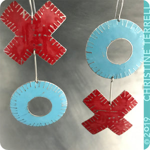 Big XOXO Red & Blue Hugs & Kisses Zero Waste Tin Earrings