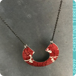 Red Cherry Blossoms Arc Tin Recycled Necklace