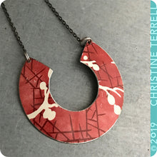 Load image into Gallery viewer, Red Cherry Blossoms Arc Tin Recycled Necklace