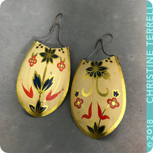 Load image into Gallery viewer, Red Flowers on Buttercream Upcycled Vintage Large Tin Earrings