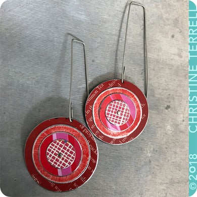 Red Layered Circles Upcycled Tin Earrings