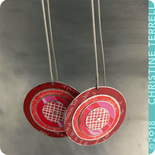 Load image into Gallery viewer, Red Layered Circles Upcycled Tin Earrings