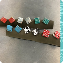 Load image into Gallery viewer, Emerald Green Folded Square Upcycled Tin Post Earrings