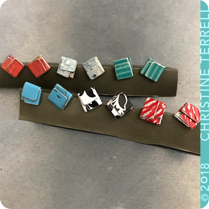 Emerald Green Folded Square Upcycled Tin Post Earrings