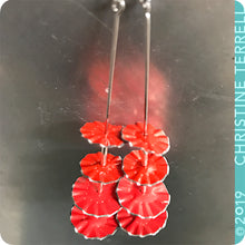 Load image into Gallery viewer, Bright Red Ruffled Circles Upcycled Tin Earrings by Christine Terrell for adaptive reuse jewelry