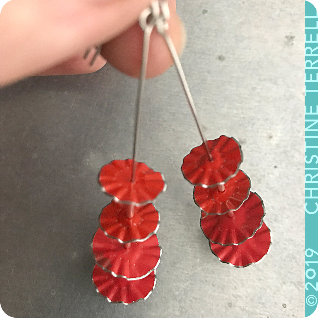 Bright Red Ruffled Circles Upcycled Tin Earrings by Christine Terrell for adaptive reuse jewelry