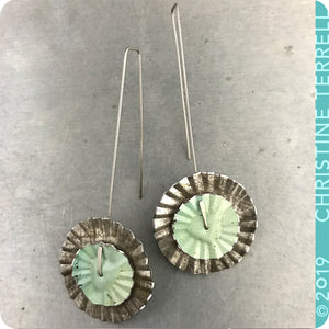 Upcycled Tin Ruffled Disc Earrings by Christine Terrell for adaptive reuse jewelry