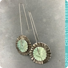 Load image into Gallery viewer, Upcycled Tin Ruffled Disc Earrings by Christine Terrell for adaptive reuse jewelry