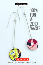 Load image into Gallery viewer, Sponge Bob & Patrick Long Dot Upcycled Tin Earrings