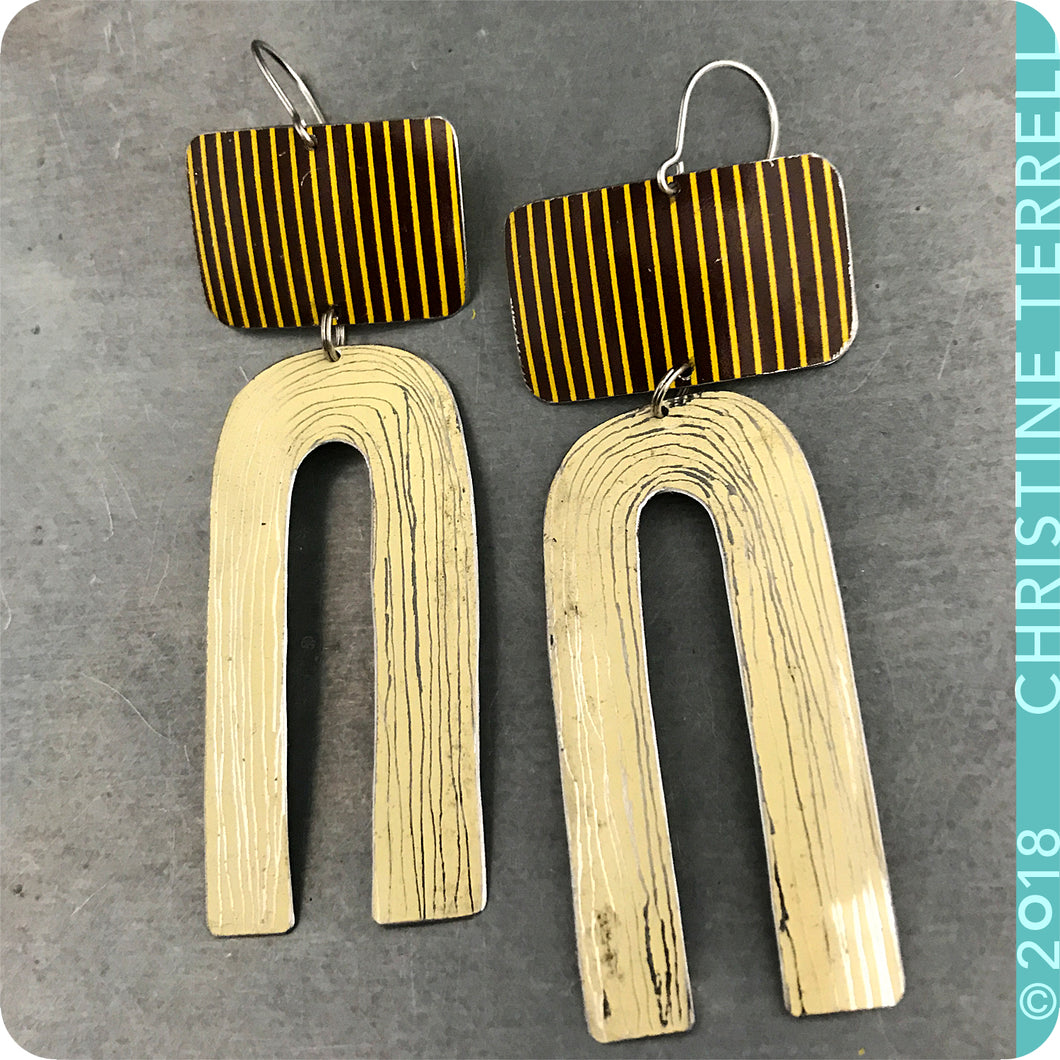 RESERVED: Striped & Cream Etched Arch Zero Waste Tin Earrings