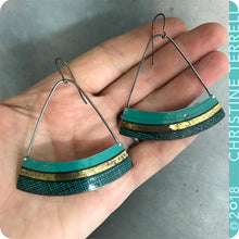 Load image into Gallery viewer, Teal Crosshatch Wide Arc Fan Zero Waste Tin Earrings