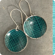 Load image into Gallery viewer, Teal Crosshatch Tiny Dot Slow Fashion Tin Earrings