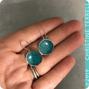 Teal Crosshatch Tiny Dot Slow Fashion Tin Earrings