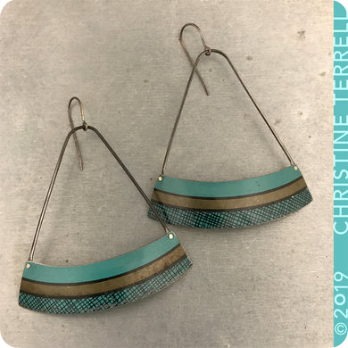 Teal Crosshatch Wide Arc Fan Zero Waste Tin Earrings