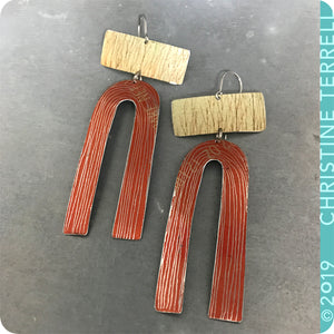 Saplings and Burnt Orange Etched Arch Upcycled Tin Earrings