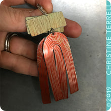 Load image into Gallery viewer, Saplings and Burnt Orange Etched Arch Upcycled Tin Earrings