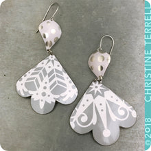 Load image into Gallery viewer, Cool Gray Snowy White Trefoil Zero Waste Tin Earrings