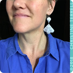 Cool Gray Snowy White Trefoil Zero Waste Tin Earrings
