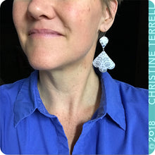 Load image into Gallery viewer, White & Aqua Trefoil Upcyled Tin Earrings