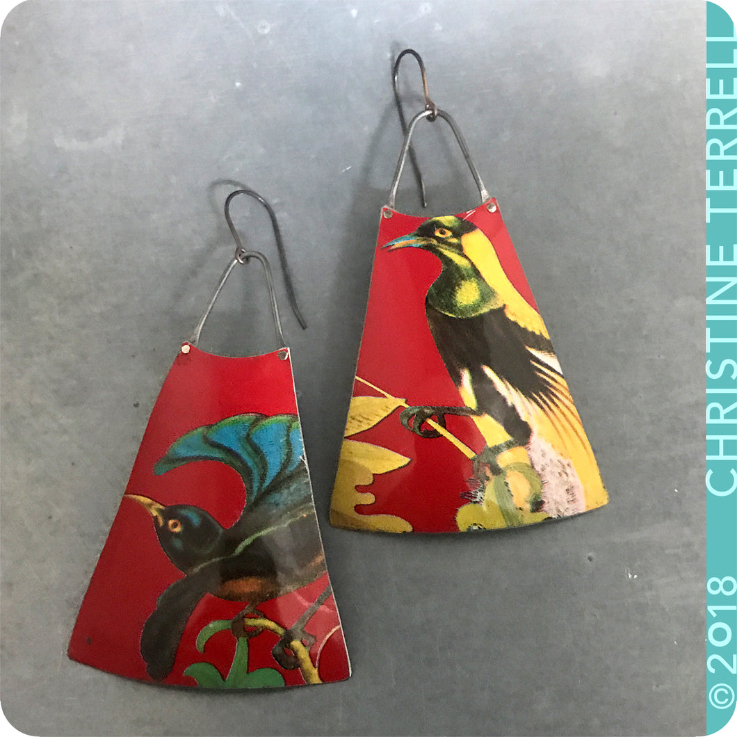 Birds of a Feather on Scarlet Upcycled Long Fan Tin Earrings