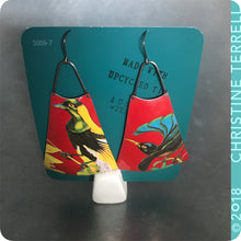 Load image into Gallery viewer, Birds of a Feather on Scarlet Upcycled Long Fan Tin Earrings