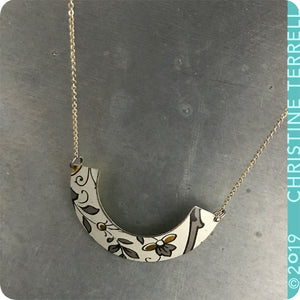 Gray & Gold on White Wide Arc Tin Recycled Necklace