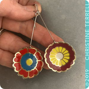 Reds & Yellow Vintage Stylized Flowers Recycled Tin Earrings
